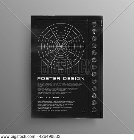 Retrofuturistic Poster With Hud Elements. Black And White Poster Design In Cyberpunk Style With A Po