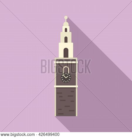 Clock Tower Icon Flat Vector. Big Ben Building. Old Clock Tower
