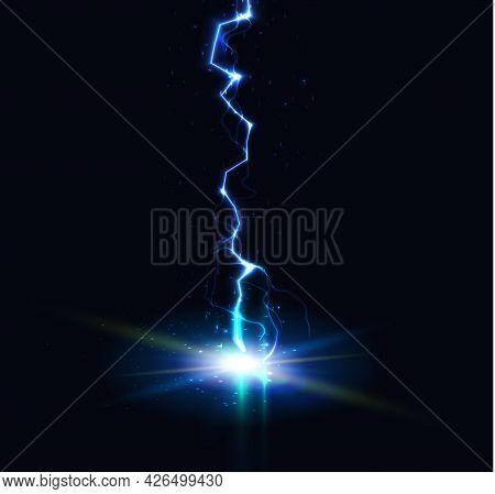 Lightning Strike, Thunder Flash, Electric Discharge Vertical Line, Vector Illustration