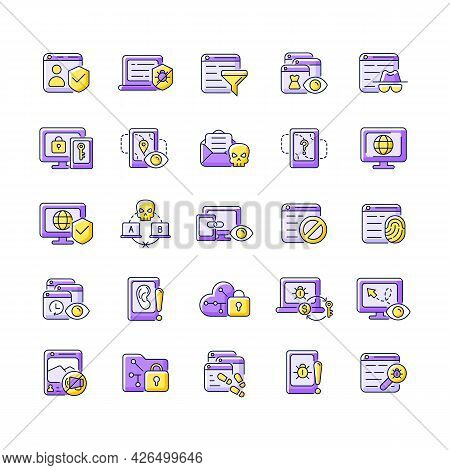 Online Surveillance And Censorship Purple Rgb Color Icons Set. Securing Accounts. Targeting Advertis