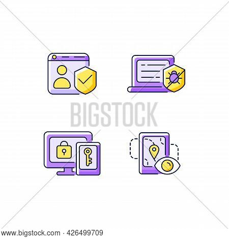 Protecting Right To Online Privacy Purple Rgb Color Icons Set. Securing Accounts. Antivirus Software