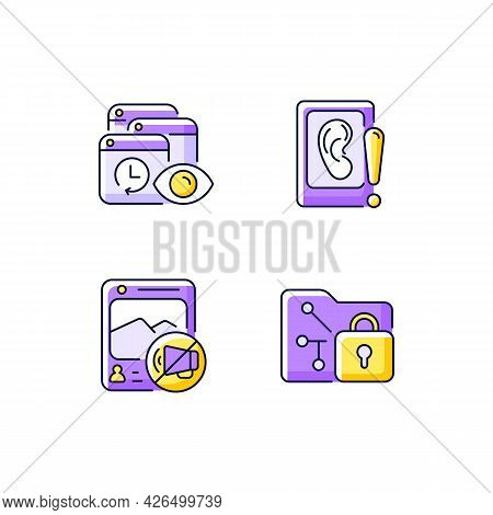 Computer Activity Monitoring Purple Rgb Color Icons Set. Tracking Search History. Eavesdropping On S