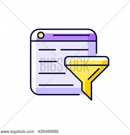 Filter Bubble Purple Rgb Color Icon. Isolated Vector Illustration. Intellectual Isolation. Selective