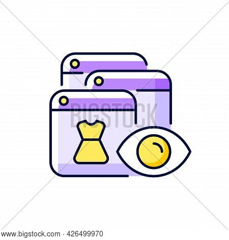 Online Behavioral Tracking Purple Rgb Color Icon. Isolated Vector Illustration. Targeting Advertisem