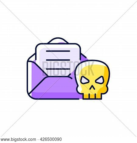 Email Phishing Purple Rgb Color Icon. Isolated Vector Illustration. Online Scam. Cyber Attack By Sen