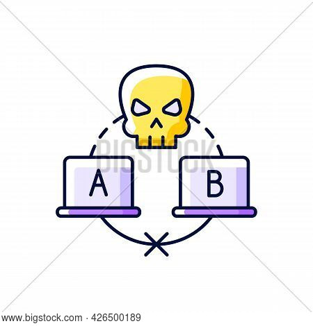 Sniffing Attack Purple Rgb Color Icon. Isolated Vector Illustration. Illicitly Data Capturing And De