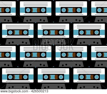Retro Cassette Pattern Seamless. Boombox Cassette For Tape Recorder Background.