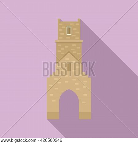 Brick Tower Icon Flat Vector. Medieval Fort. Old Castle Wall
