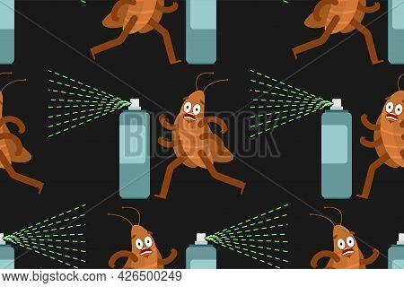 Cockroach Cartoon Pattern Seamless. House Beetle Run Background. Vector Texture