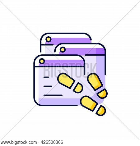 Digital Trail Purple Rgb Color Icon. Isolated Vector Illustration. Data Footprints. Collecting Priva