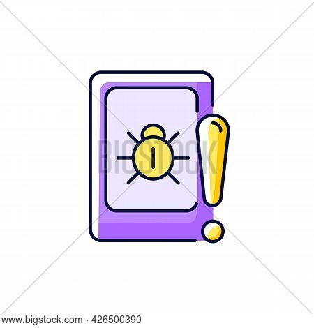 Cell Phone Bugging Purple Rgb Color Icon. Isolated Vector Illustration. Tracking Mobile Device Secre