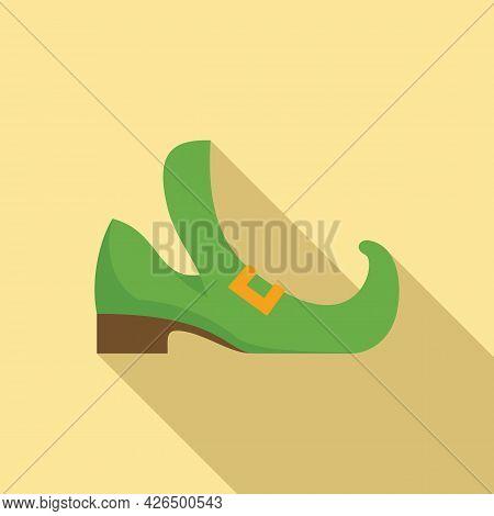 Leprechaun Boot Icon Flat Vector. Gold Irish Boot. Ireland Leprechaun