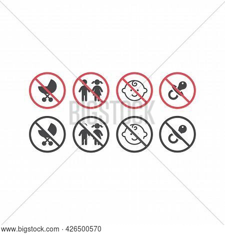 No Children, No Babies Red Prohibition Sign. Not For Kids Signs With Pram, Dummy And Baby Vector Ico