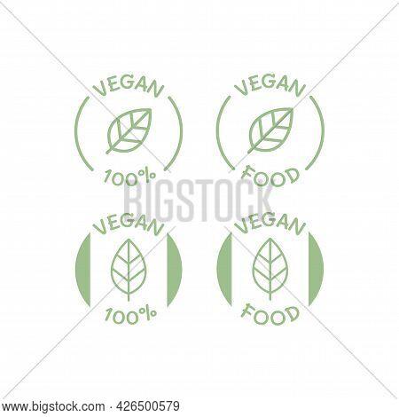 Vegan Label Sign Icon Set Circle Food 100%.eps