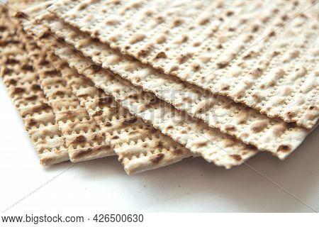 Traditional Jewish Kosher Matzo For Passover. Set With Passover Matzos On White Background. Pesach C