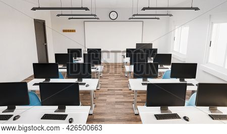 Modern Classroom With Computers At The Desks. Education Concept, Online, E-learning. 3d Render