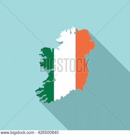 Ireland Map Icon Flat Vector. Northern Island. Republic Ireland Landmark