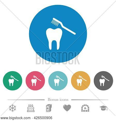 Toothbrushing Flat White Icons On Round Color Backgrounds. 6 Bonus Icons Included.