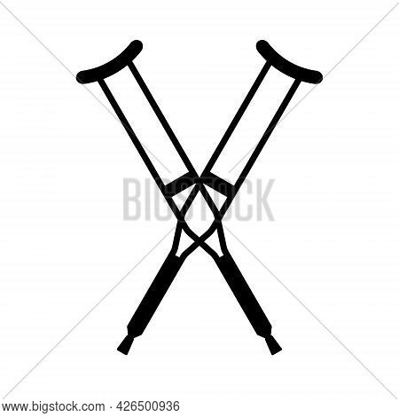 Vector Flat Crossed Invalid Crutch Silhouette Isolated On White Background