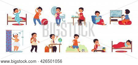 Boy Daily Activities. Activity Child, Day Schedule Young Guy. Isolated Active Kid Morning, Hygiene A