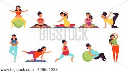 Yoga For Pregnant. Pregnancy Woman Relaxing, Pilates Or Gym Exercise. Prenatal Sport Support, Health