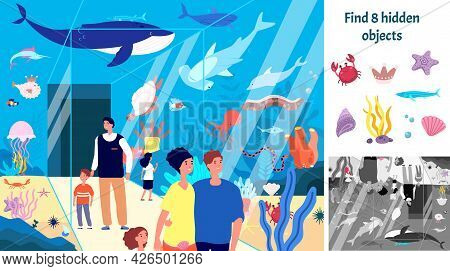 Find Hidden Objects. Puzzle Game Kids With Fish In Aquarium. Underwater Fun Brain Teaser Looking Dif