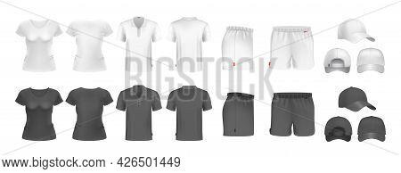 Realistic Sport Uniform Mockup. Male Female T-shirt Shorts And Caps. Black And White Sportsmen Wear.