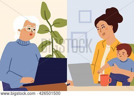 Video Call. Family Calling Computer, Online Conversation. Young Woman Hold Baby And Remote Talking W