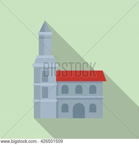 City Church Icon Flat Vector. Town Landscape. Village City Church