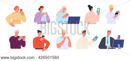 People With Payments. Gift Cards, Person Pays Plastic Card Or Smartphone. Mobile Pay, Customer Holdi