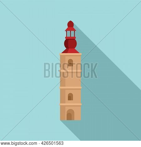 Old Tower Icon Flat Vector. Castle Wall. Fort Building