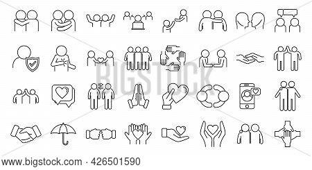 Trust Team Icons Set Outline Vector. People Community. Partnership Union