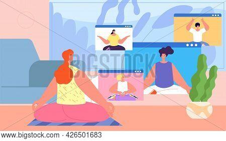 Home Yoga. Online Group Workout, Resting In Meditation Pose Together. Modern Workout Streaming, Fitn