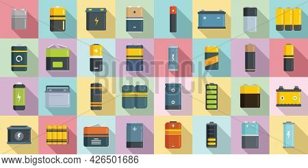 Battery Icons Set Flat Vector. Lithium Cell. Recharge Battery
