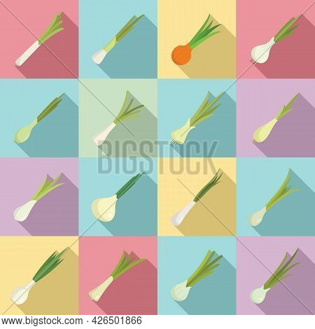 Chives Icons Set Flat Vector. Agriculture Farming. Fresh Vegetable Plant