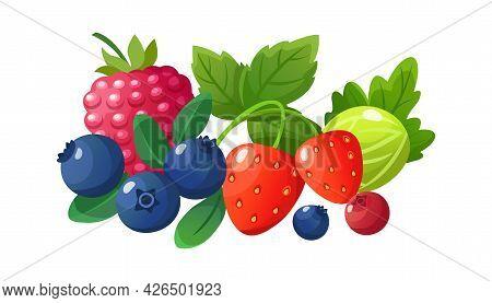 Isolated Cartoon Berries. Red Raspberry, Fresh Gooseberry Blueberry Strawberry. Juicy Seasonal Fruit