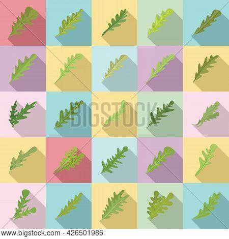 Arugula Icons Set Flat Vector. Leaf Salad. Food Arugula Plant