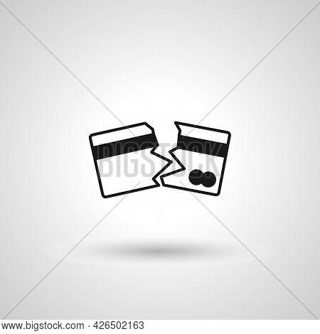 Broken Credit Card Sign. Broken Credit Card Isolated Simple Vector Icon