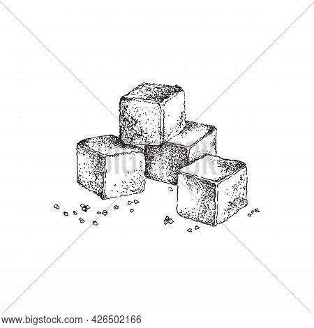 Pile Of Refined Sugar Cubes - Beet, Palm Or Cane Natural Sweetener Of Food.