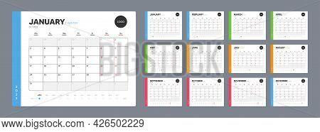 Calendar Template For 2022 Year. Annual Diary Planner Schedule In Minimal Design. Corporate Calendar