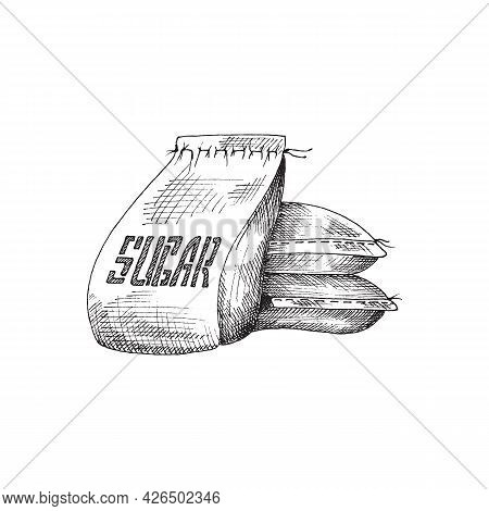 Pile Of Canvas Sacks Or Bags With Sugar Engraving Vector Illustration Isolated.