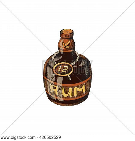 Vintage Brown Rum Bottle With Label, Engraving Vector Illustration Isolated.