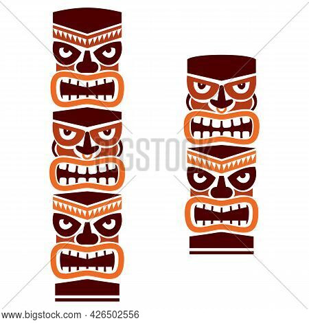 Tiki Pole Totem Set Vector Tribal Design In Brown - Traditional Statue Decor With Faces Set From Pol