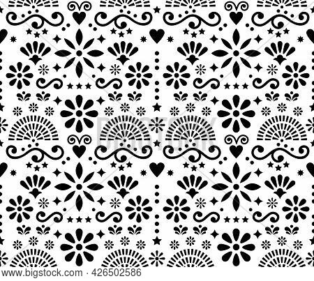 Mexican Folk Art Floral Seamless Vector Pattern, Black And White Design With Hearts, Flowers And Swi