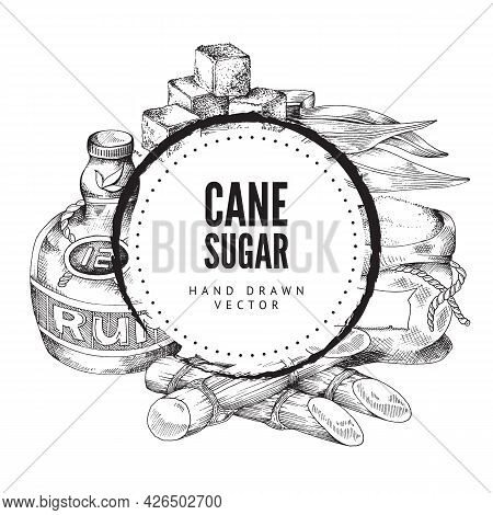 Label With Cane Sugar - Sugarcane, Cubes And Sack With Refined Sugar, Rum Bottle
