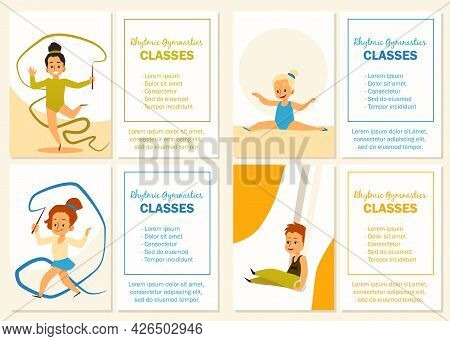 Set Banners For Children Rhythmic Gymnastic Classes Flat Vector Illustration.
