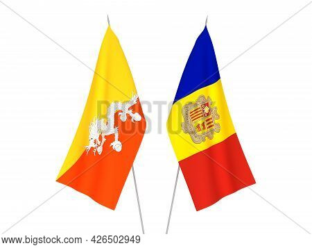 National Fabric Flags Of Andorra And Kingdom Of Bhutan Isolated On White Background. 3d Rendering Il
