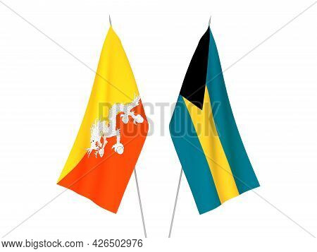 National Fabric Flags Of Commonwealth Of The Bahamas And Kingdom Of Bhutan Isolated On White Backgro
