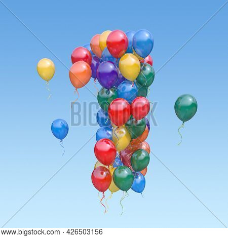 Number 1 one from balloons in the sky. Text letter for age, holiday, birthday, celebration. 3d illustration