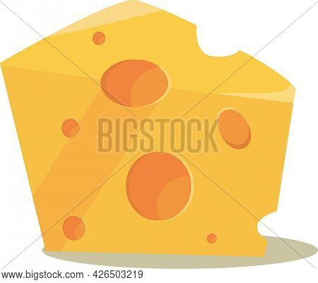 A Slice Of Excellent Swiss Cheese On White Background